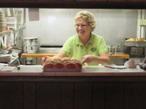 Carla Dreckman, owner, preparing for lunch crowd.